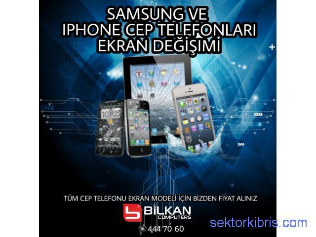Samsung ve IPHONE ekran tamiri lcd ekran değişimi kıbrısta garantili servis
